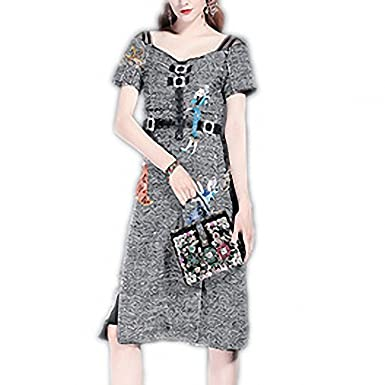 ZackZK Fashion Autumn Winter Women Knee Length Character Sequin Diamonds Embroidery Wool Blends Vintage Dress Gray
