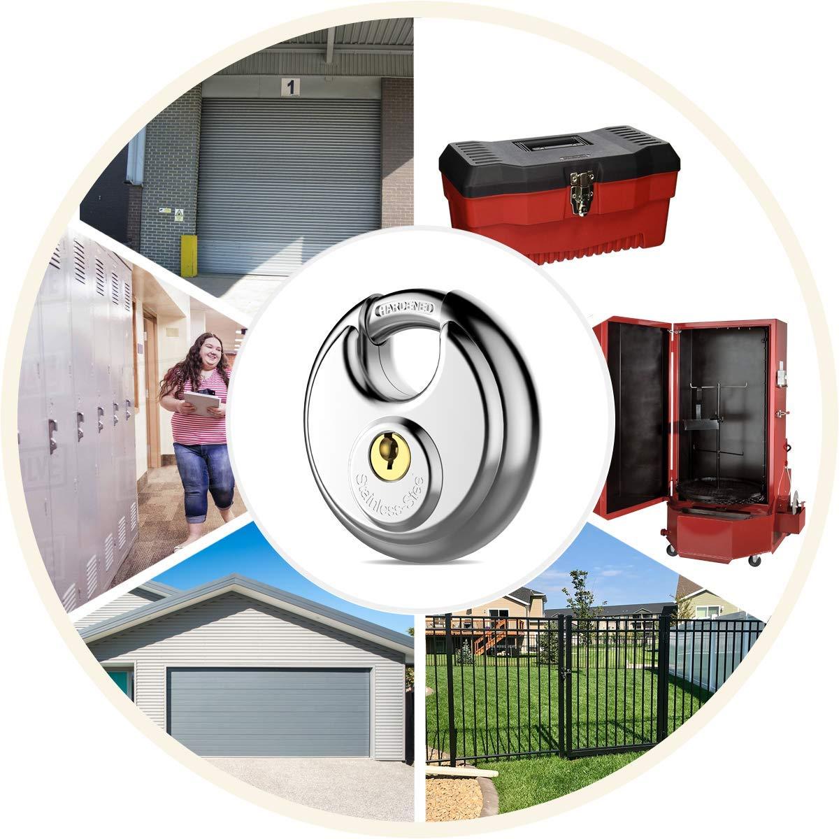 Candado de disco de combinaci/ón de 4 d/ígitos con cerradura de plata de grillete de acero endurecido para cobertizos gimnasio y cerca unidad de almacenamiento paquete de 2