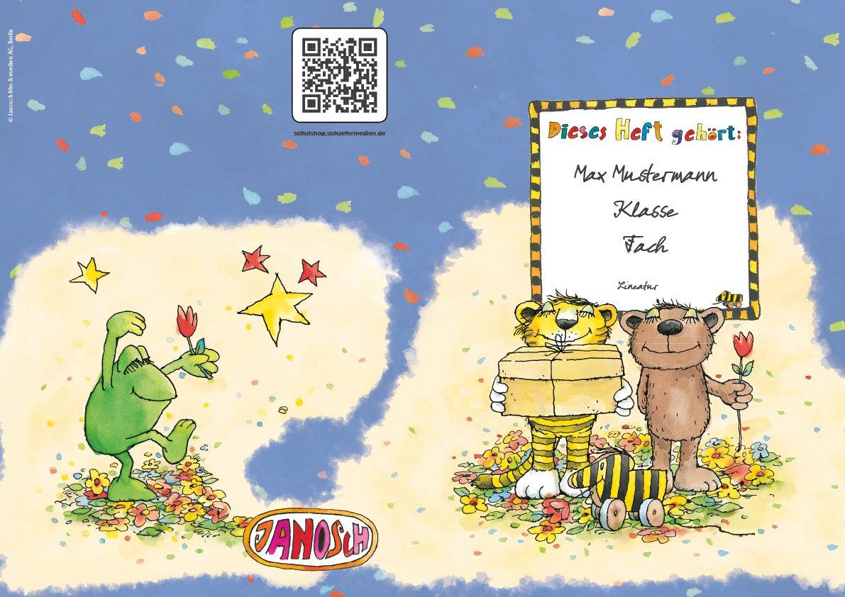 2 lustige JANOSCH-Schulhefte A5, »Geheimnisvolles Geschenk«, Lineatur 28, Ozeanblau, personalisierbar, 32 Seiten