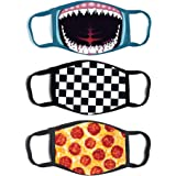 ABG Accessories Boys' 3-Pack Kid Fashionable Germ Protection, Reusable Fabric Face Mask Age 4-14