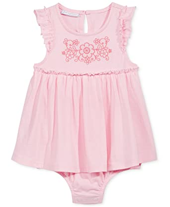 a1c9bf217e First Impressions Baby Girl Embroidered Skirted Cotton Romper Pink (0-3  Months)