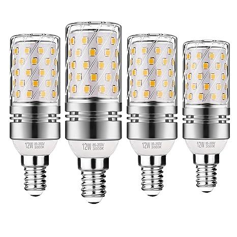Gezee LED Plata Maíz Bombillas 12W E14 3000K Blanco Cálido LED Candelabros bombillas, 100 W