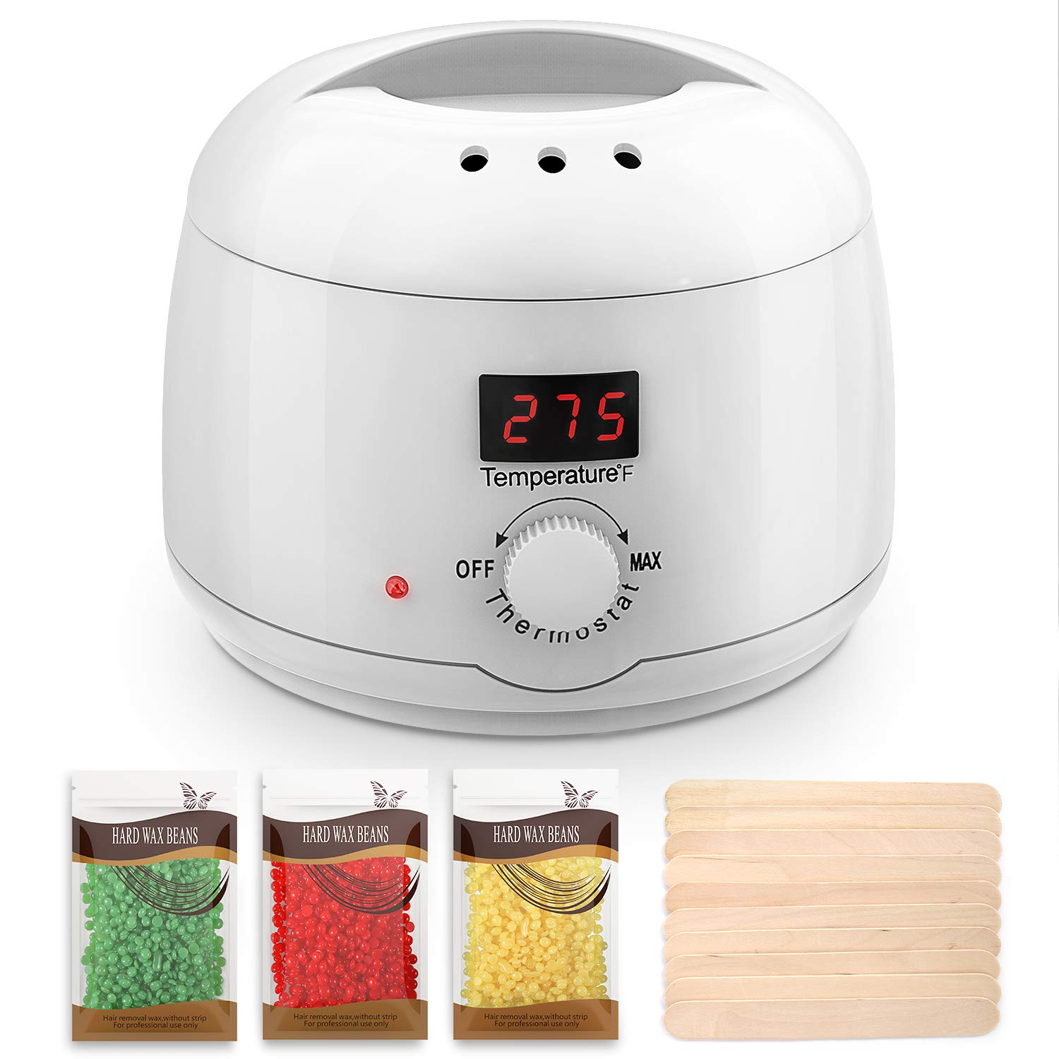 Wax Warmer Hair Removal Kit with LED Display, Professional Safe Wax Heater Pot for Both Women and Men on Arm, Leg and Face, 3 Packs Hard Wax Beans and 10 Applicator Sticks Included HOMIEE