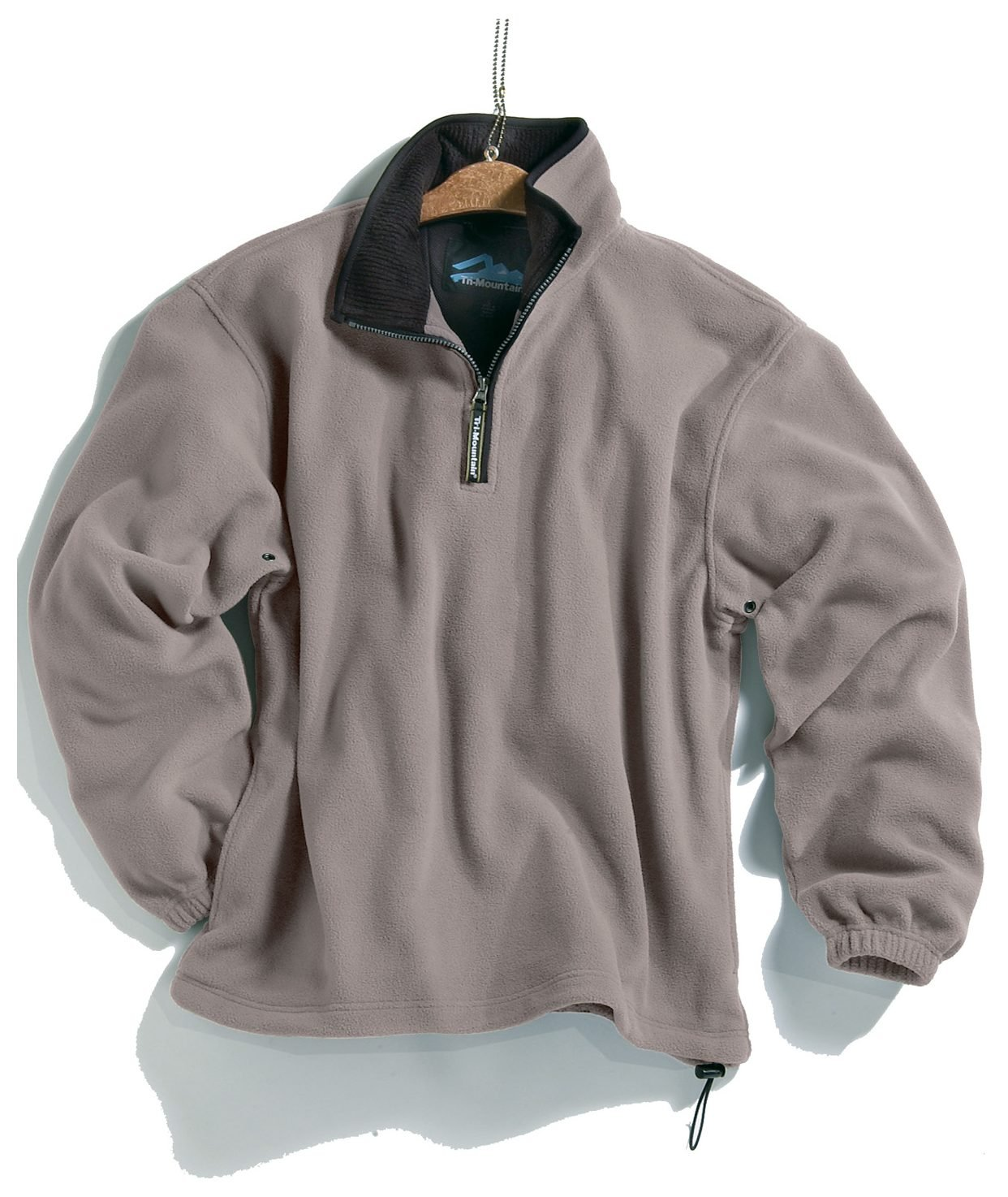 Tri-mountain Micro fleece 1/4 zip pullover. 7100TM - HEATHER GRAY / BLACK_L