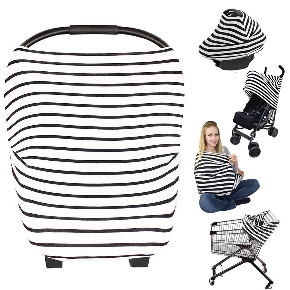 Nursing Breastfeeding Cover Scarf - Baby Car Seat Canopy, Shopping Cart, Stroller, Carseat Covers Best Baby Shower Gift for Girls and Boys - Multi-Use Infinity Stretchy Shawl (Color-8) Bestbaby