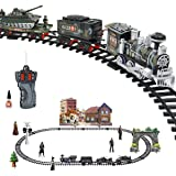 Haktoys Radio Controlled Military Simulation RC Train Set, Battery Operated Ready to Play Steam Locomotive with LED Lights, and Sound (Bonus Figurine Pack Included)