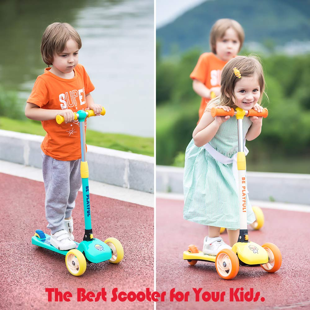 Luddy Kick Scooter for Kids and Toddler - 3-Wheel Folding Scooter 3 Adjustable Height, Lean to Steer for Children from 2 to 6 Years Old- Easy Assembly (Blue) ... ... by Luddy