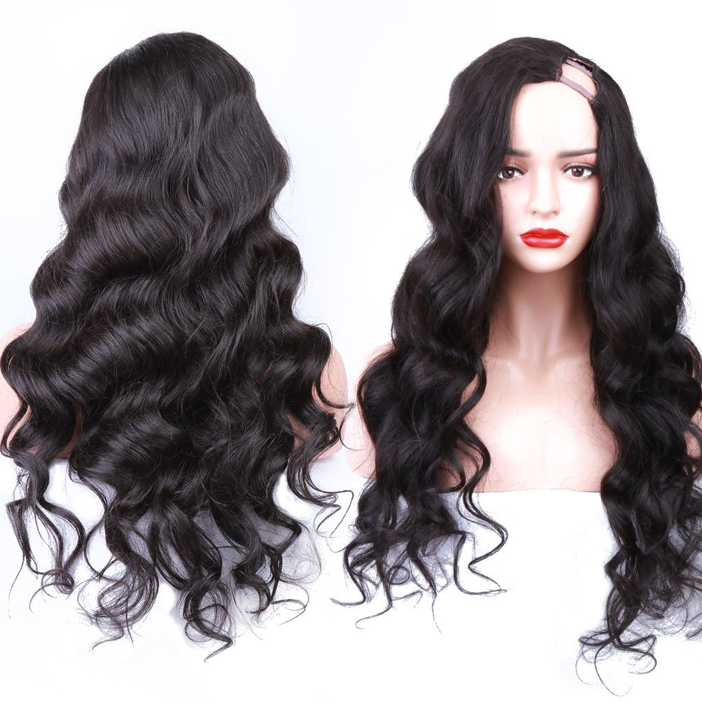 d9eefc645 Amazon.com: Women U Part Wigs Virgin Brazilian Human Hair Loose Body Wave  Upart Wigs Natural Color 16 Inch 150 Density: Beauty