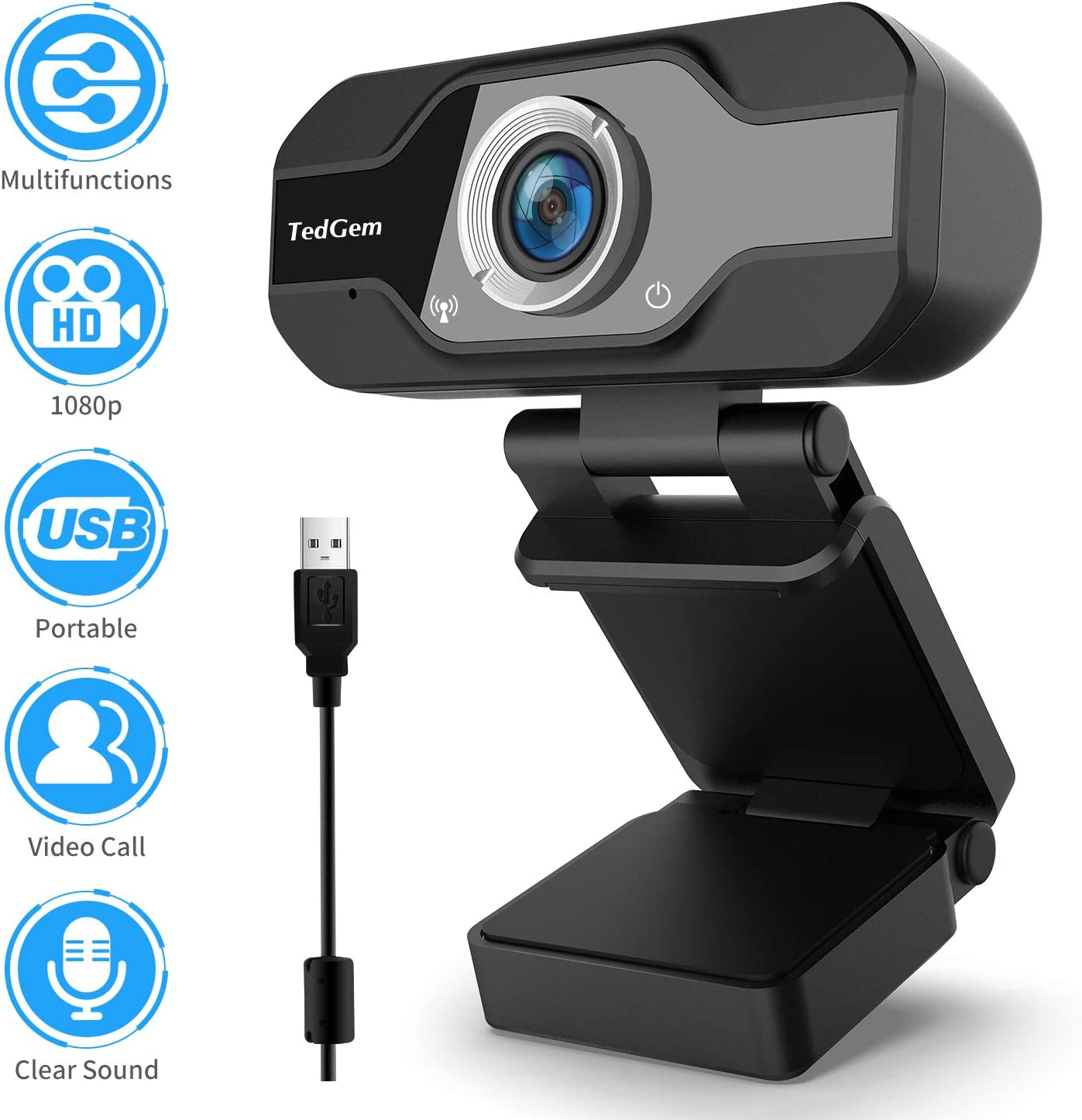 Webcam for Laptop USB, TedGem1080P PC Camera Webcam, Computer Camera with Microphone for Streaming, Video Calling and Recording, Gaming, Supports Windows, Android, Linux