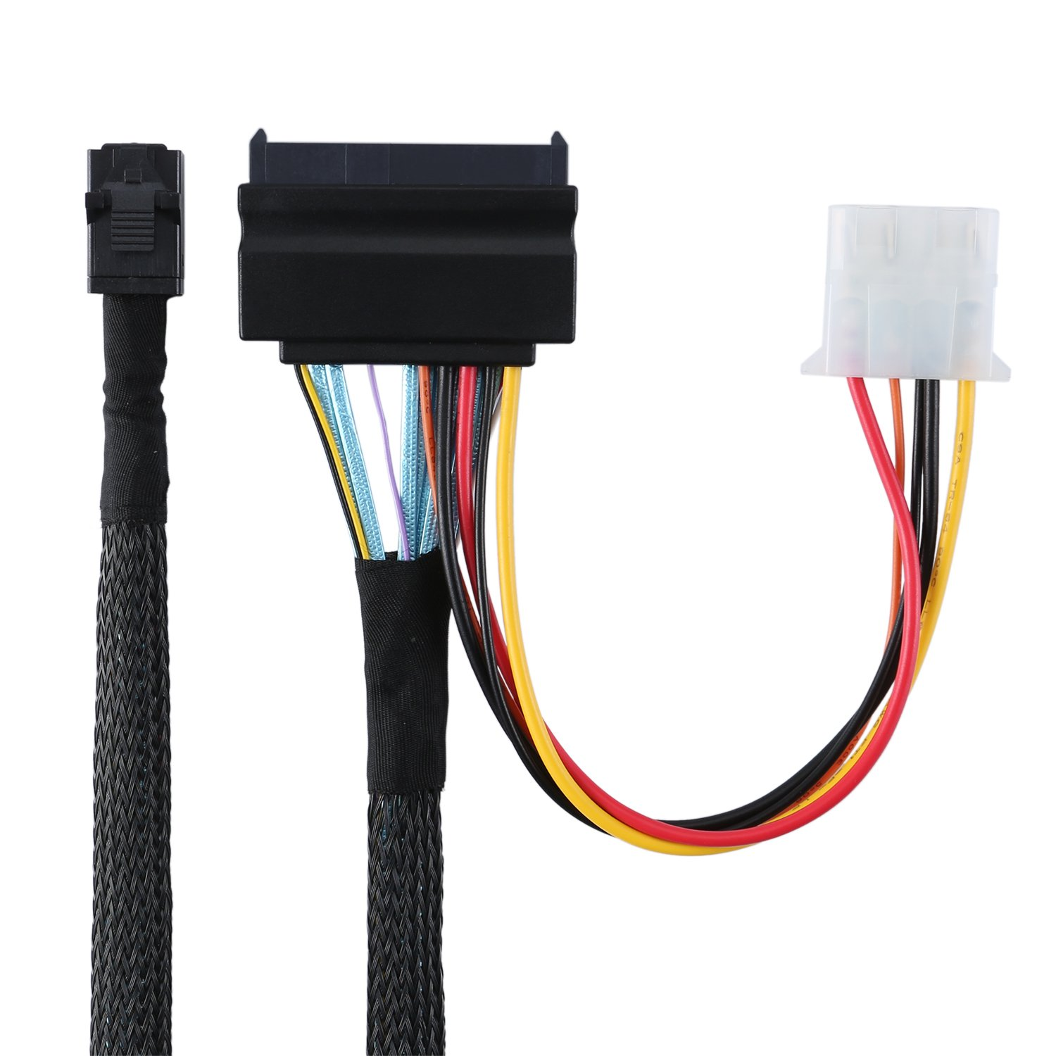 CableCreation 2.5FT Mini SAS HD Cable Internal Mini SAS SFF 8643 to U.2 SFF 8639 Cable with 4 Pin SATA Power Connector for Workstations,Servers and More by CableCreation (Image #3)