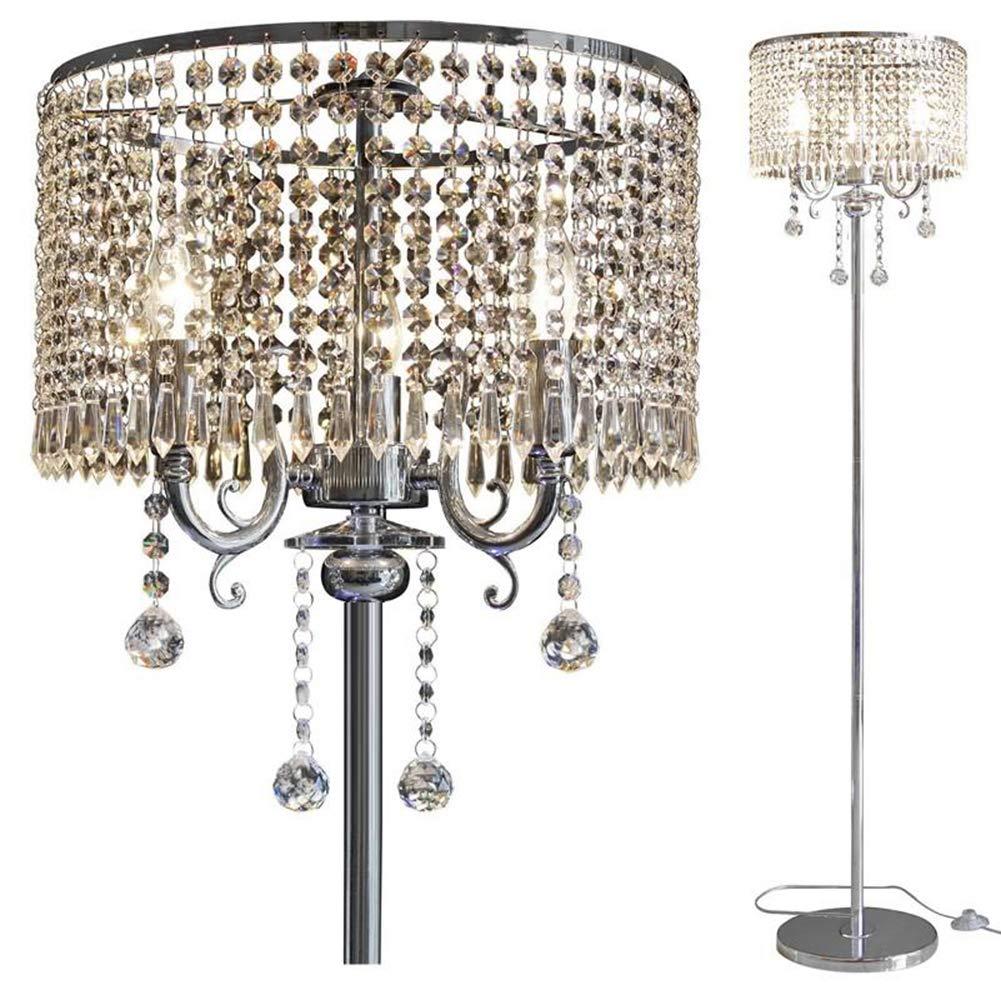 Hsyile Lighting KU300153 Elegant Designs Crystal Floor Lamp chrome Finish,2 Lights by Hsyile