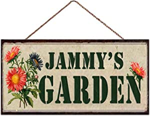 aianhe Personalized Sign Garden Flower Rustic Custom Name Decor Signs Decorations Vintage Wall Art Wooden Plaque Plant Gardening Decor Sign