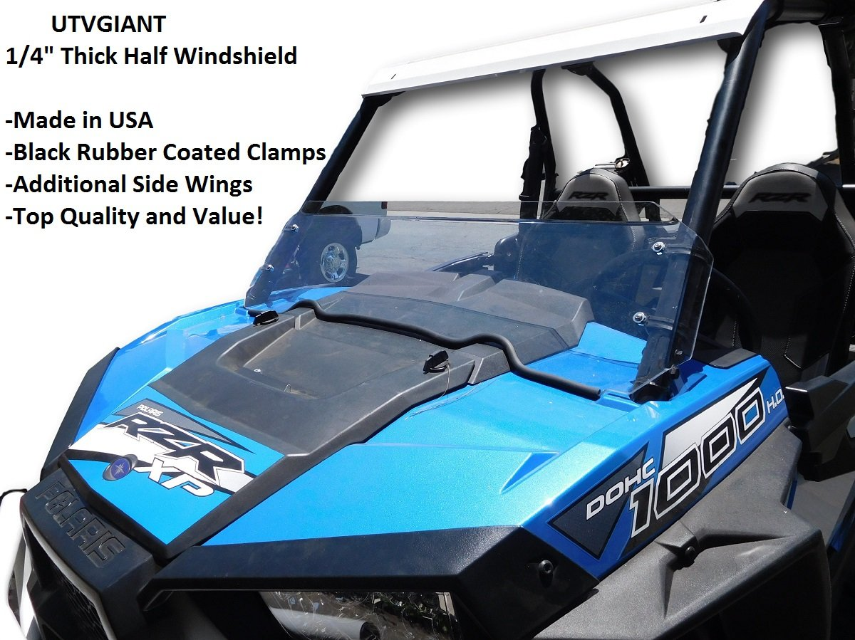 Polaris RZR XP 1000 Half Windshield - 1/4' Thick, Black Clamps, Side Wings, Fits 2 Door and 4 Door UTVGIANT