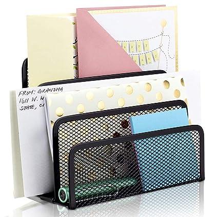 Organizador vertical de cartas de malla de metal con 3 ...