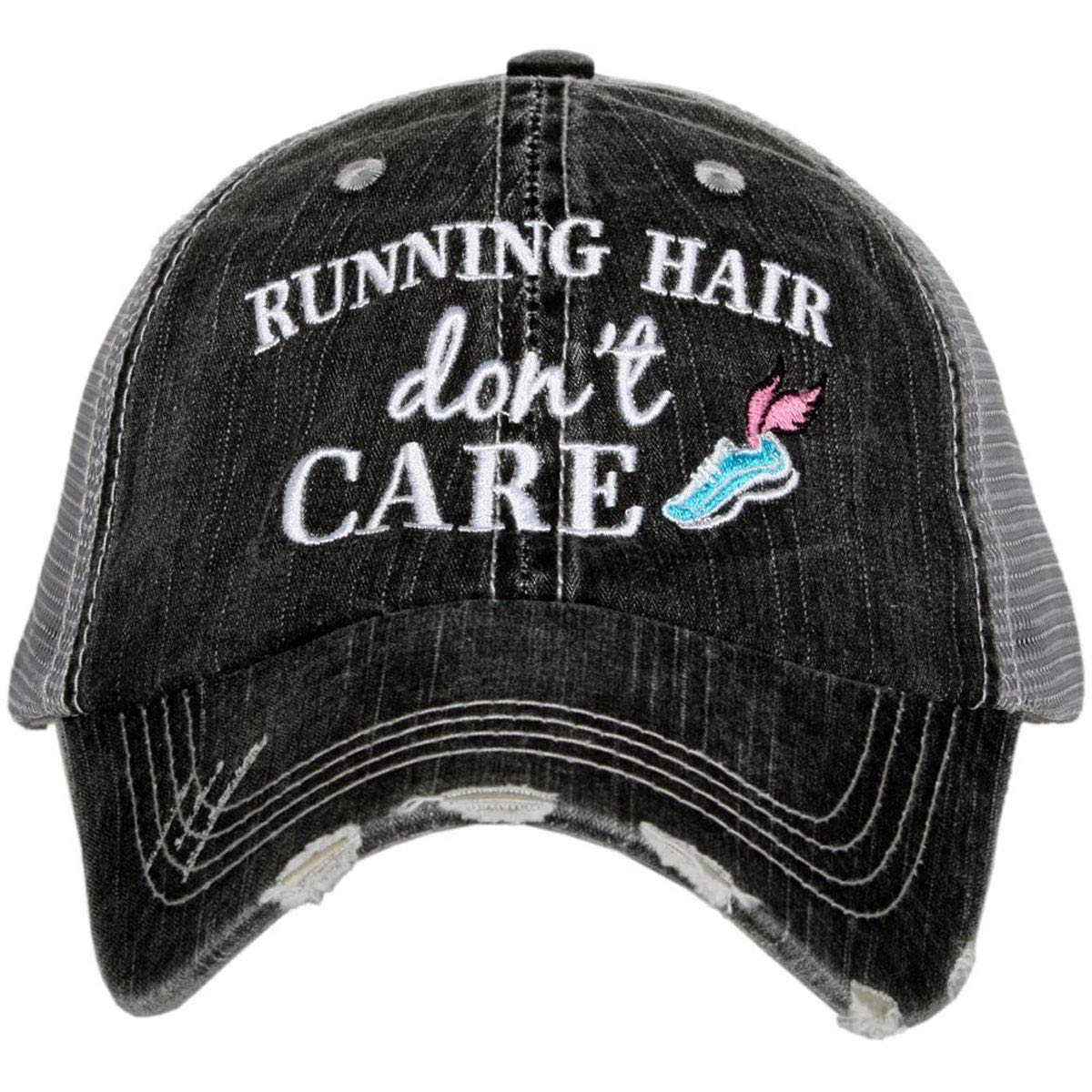 KATYDID Running Hair Dont Care Womens Distressed Trucker Hat
