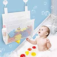 Bath Toy Organizer Mesh Bag with Suction & Sticker Hooks,Bottom Zippered Bathtub Shower Toy Organizer Multiple Ways to…