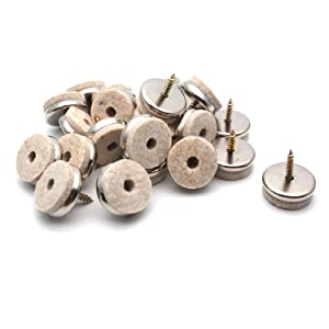 Antrader 28mm/1-Inch Nail-on Furniture Felt Pads Screw-in Furniture Glides for Wooden Furniture Legs 24Pcs
