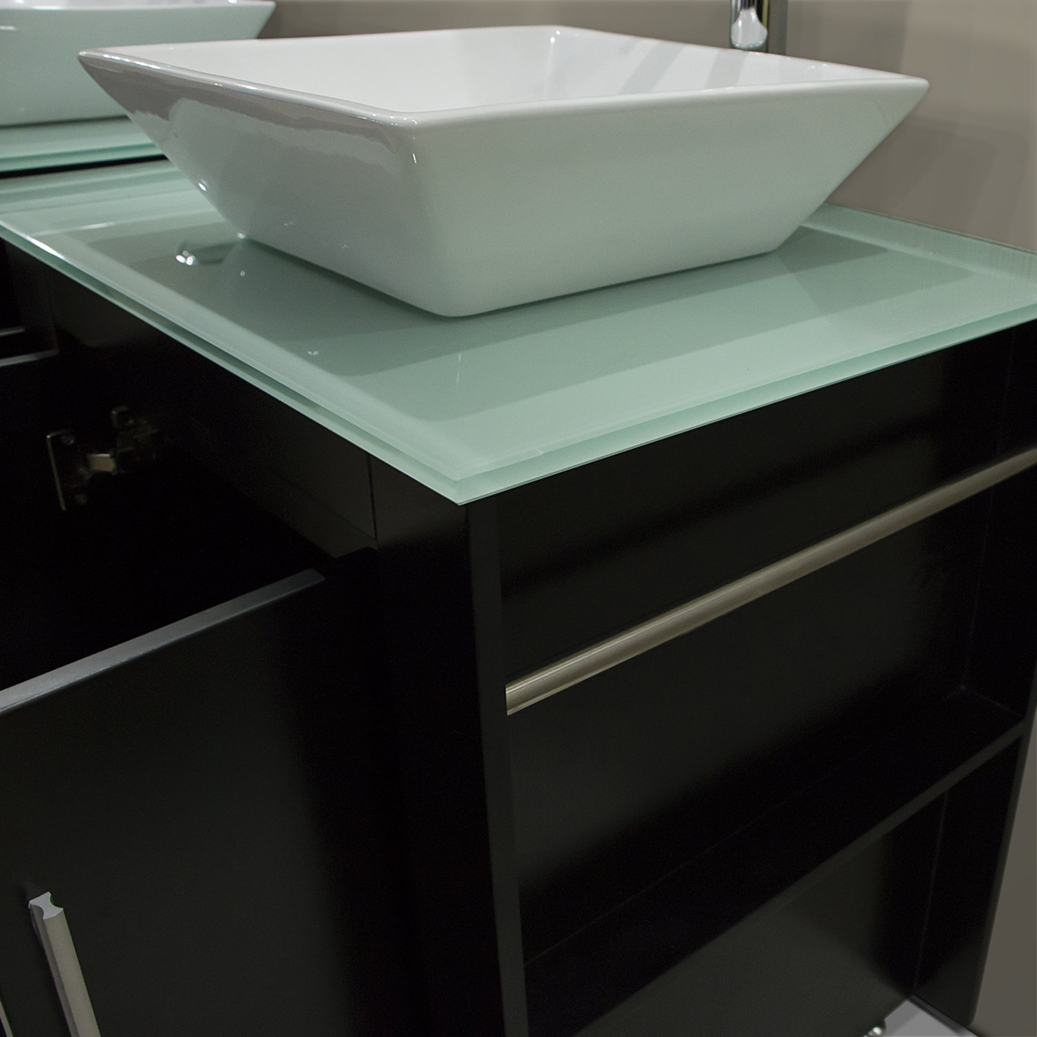 Walcut Luxury 60'' Modern Double Ceramic Sink Solid Wood Bathroom Vanity Cabinet With Mirror And Tempered Glass Table Board by WALCUT (Image #7)