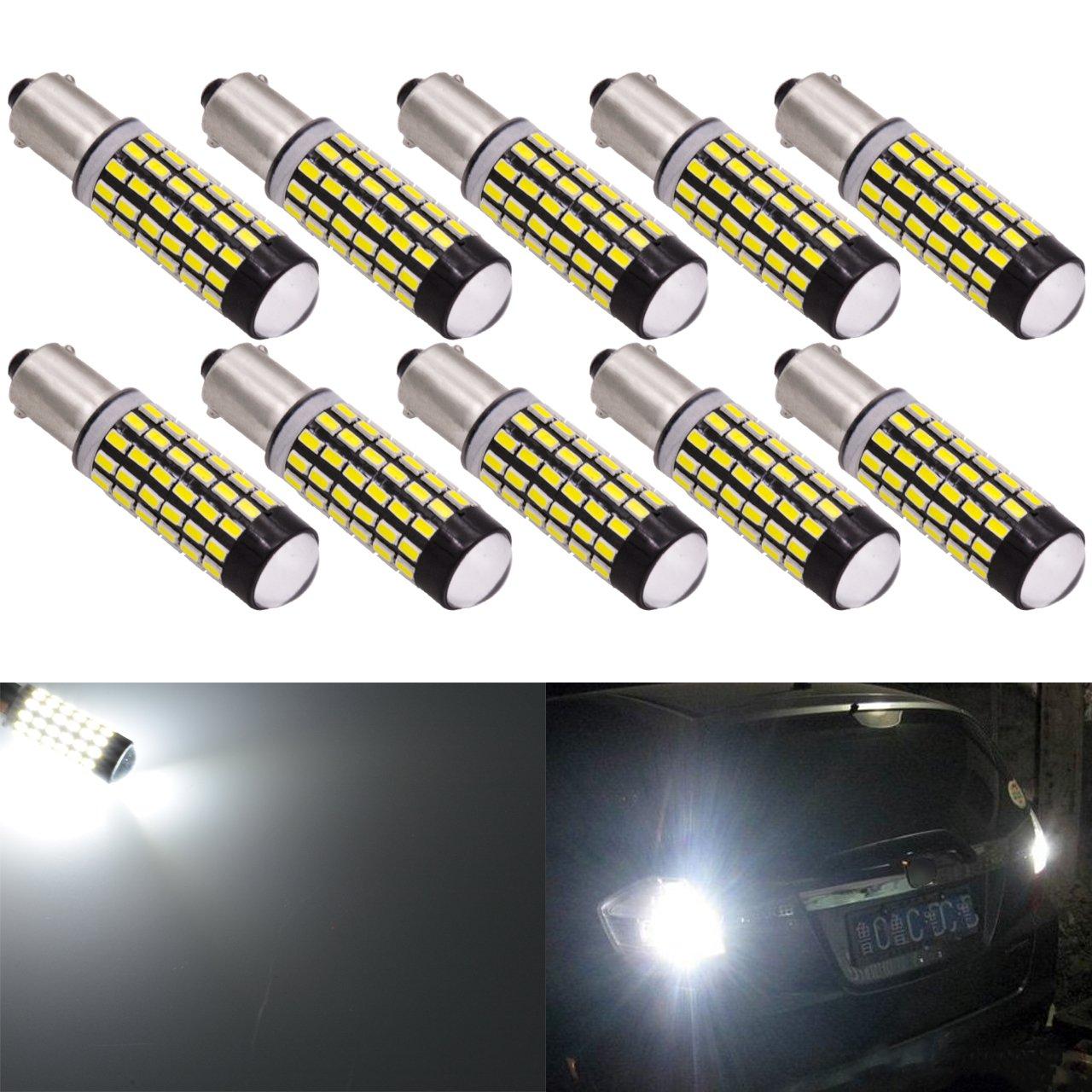 KaTur 2pcs 900 Lumens 1157 BAY15D 1016 1034 7528 Base Super Bright 3014 78SMD Lens LED Bulbs Brake Turn Signal Tail Backup Reverse Brake Light Lamp Red 12V 4W