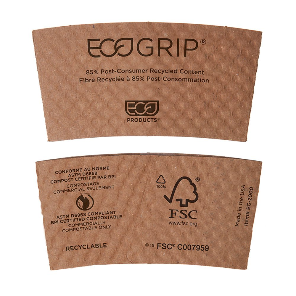 Eco-Products EG2000 EcoGrip Hot Cup Sleeves - Renewable & Compostable (Case of 1300)
