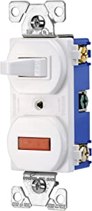 EATON Wiring 277W 15-Amp 120-volt Combination Single Pole Toggle Switch and Pilot Light with Back and Side Wiring, White