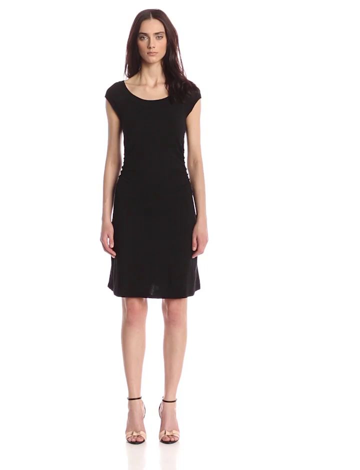 Three Dots Women's Ballet Neck Short Sleeve Ruched Dress, Black, Medium