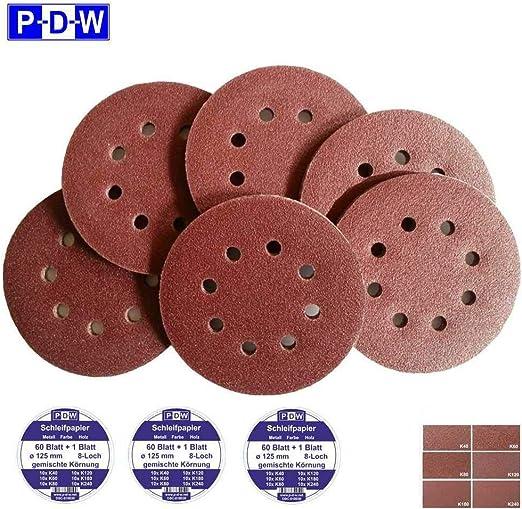 200 Stück Klett-Schleifscheiben 125mm Korn 240 Exzenter Schleifpapier P-D-W ®