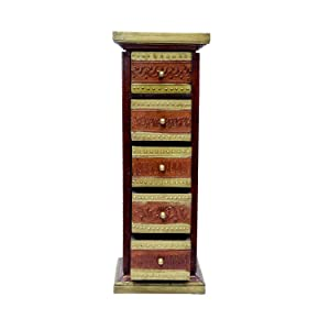 ASHA Wood Chest of 5 Drawer for Living Room | Honey Finish