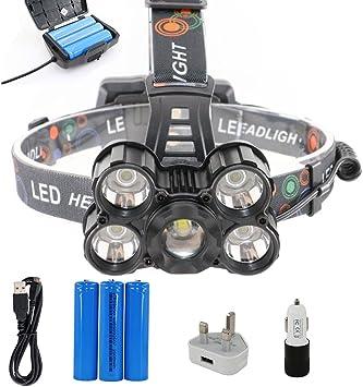 BORUIT LED linterna linterna frontal con 4 modos, 5 * XML-T6 ...