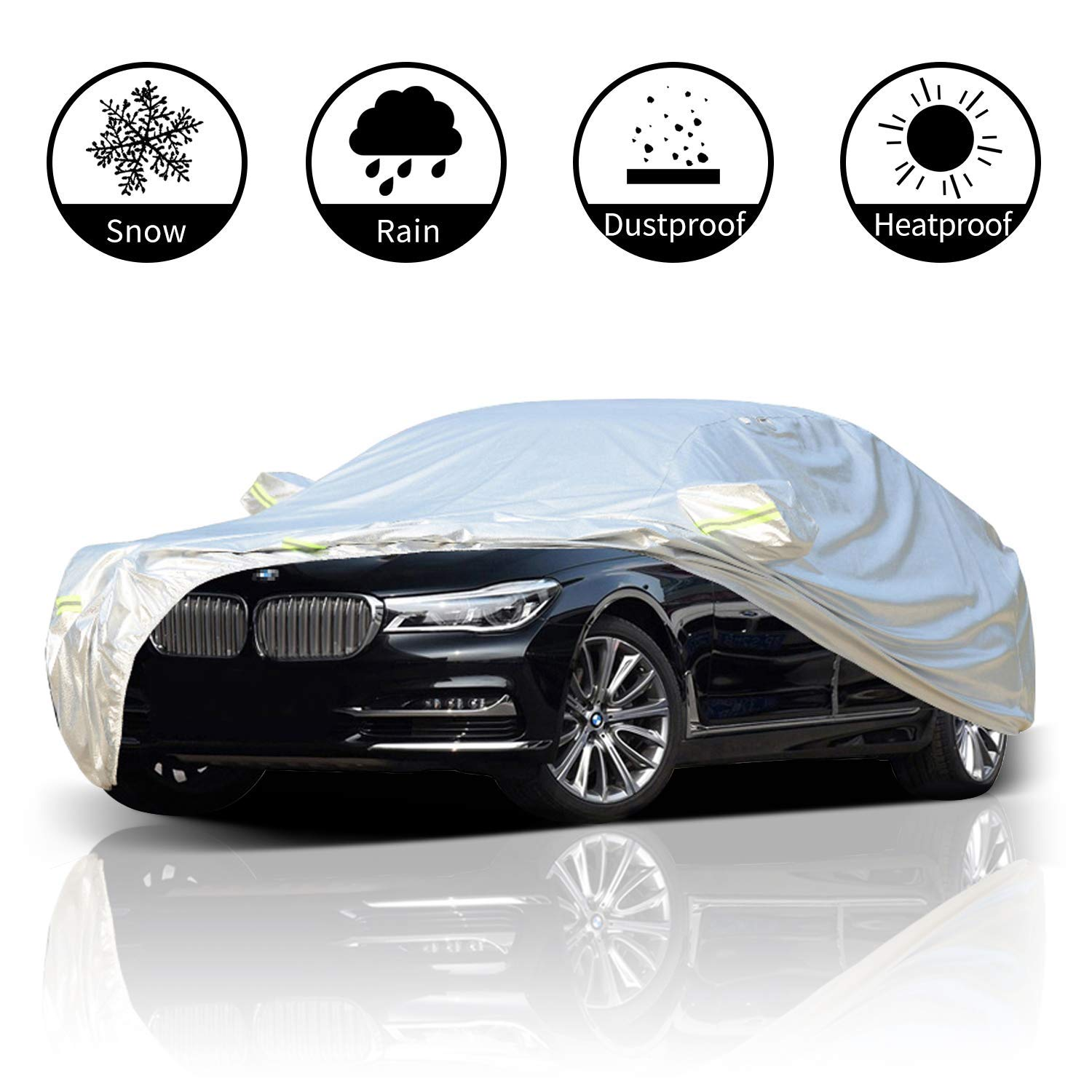 FLOWood Car Cover All Weather Waterproof Breathable Outdoor UV Protection Full Fit Medium Car XL:540 * 175 * 120cm
