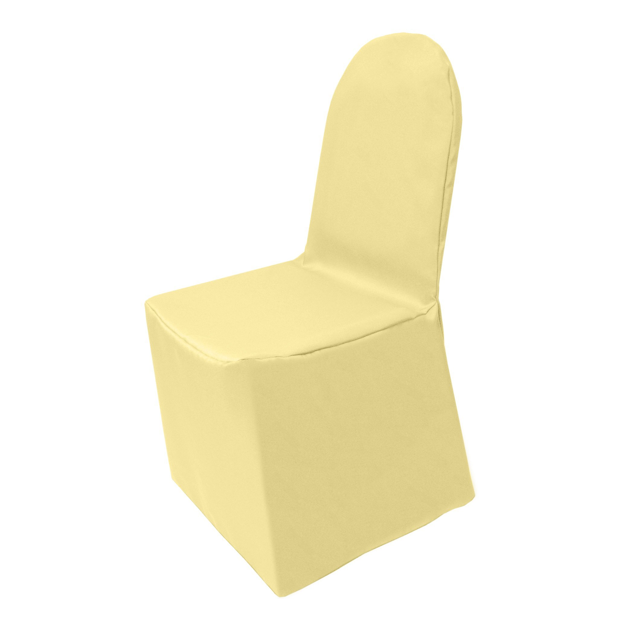 Ultimate Textile (2 Pack) Polyester Universal Chair Cover - for Wedding or Party use, Cornsilk Light Yellow