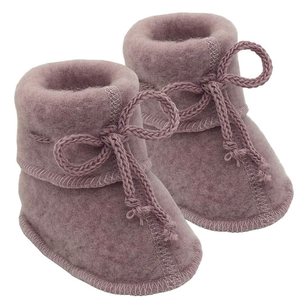 Infant Baby Warm Booties Socks with Ties, Organic Merino Wool Fleece (Size 2 | 3-6 months, Rose Melange) by Ecoable