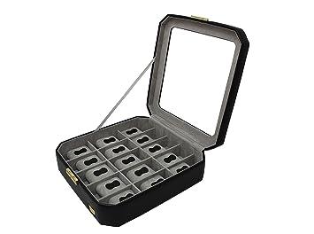 CORDAYS - Estuche Relojero para 15 Relojes con Vitrina de Cristal Joyero Relojero para Accesorios y Joyas -Hecho a Mano- en Color Negro CDM-00039: ...