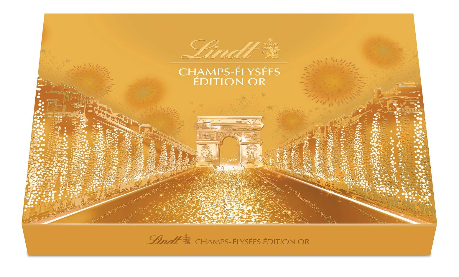 Lindt Champs Elysées Chocolate Box Gourmet Milk and Dark Chocolate Assortment 44 Chocolates 16.5oz Gold Box by Lindt