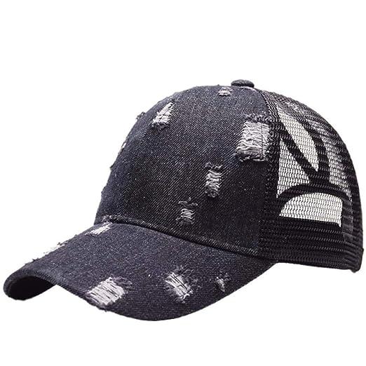Baseball Cap Ponytail Ripped Denim Style Cotton Sunshade Sun Hat Sportswear  Accessory 84151ba76d6