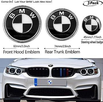Amazon Com 3pcs Black And White Bmw 82mm Hood Emblem 74mm Trunk Emblem 45mm Steering Wheel Center Emblem For Bmw Emblems Replaceme 6 7 8 Series 325i 328i E Series Fit B M W2 Automotive