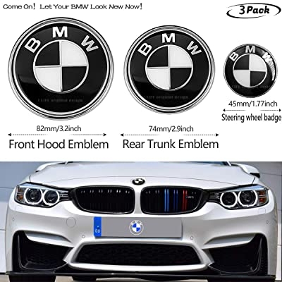 White Blue 2PCS B-M-W White and Blue 82mm Hood Emblem//74mm Trunk Emblem with 2 Grommets Replacement for B M W X3 X5 X6 3 4 5 6 7 8 series 325i 328i E46 E30 E36 E34 E38 E39 E60 E65 E90