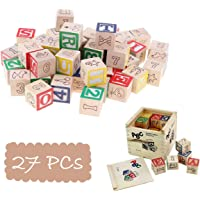 Blossom (27PCs) Wooden Blocks Letters Alphabets Numbers/ ABC 123 Animals Fruits Educational Learning Counting Toy with Box Storage Case