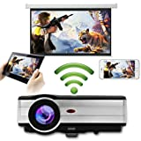 EUG 4000 Lumen LED LCD Android Wireless Projector Wi-Fi Home Theater 1080p Support Free HDMI Cable for DVD Player iPad Laptop Computer Mobile Phone, Outdoor Entertainment Video Games