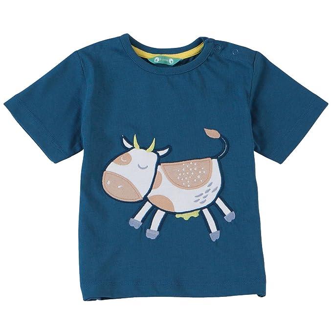 Piccalilly algodón orgánico azul niños vaca applique camiseta: Amazon.es: Ropa y accesorios