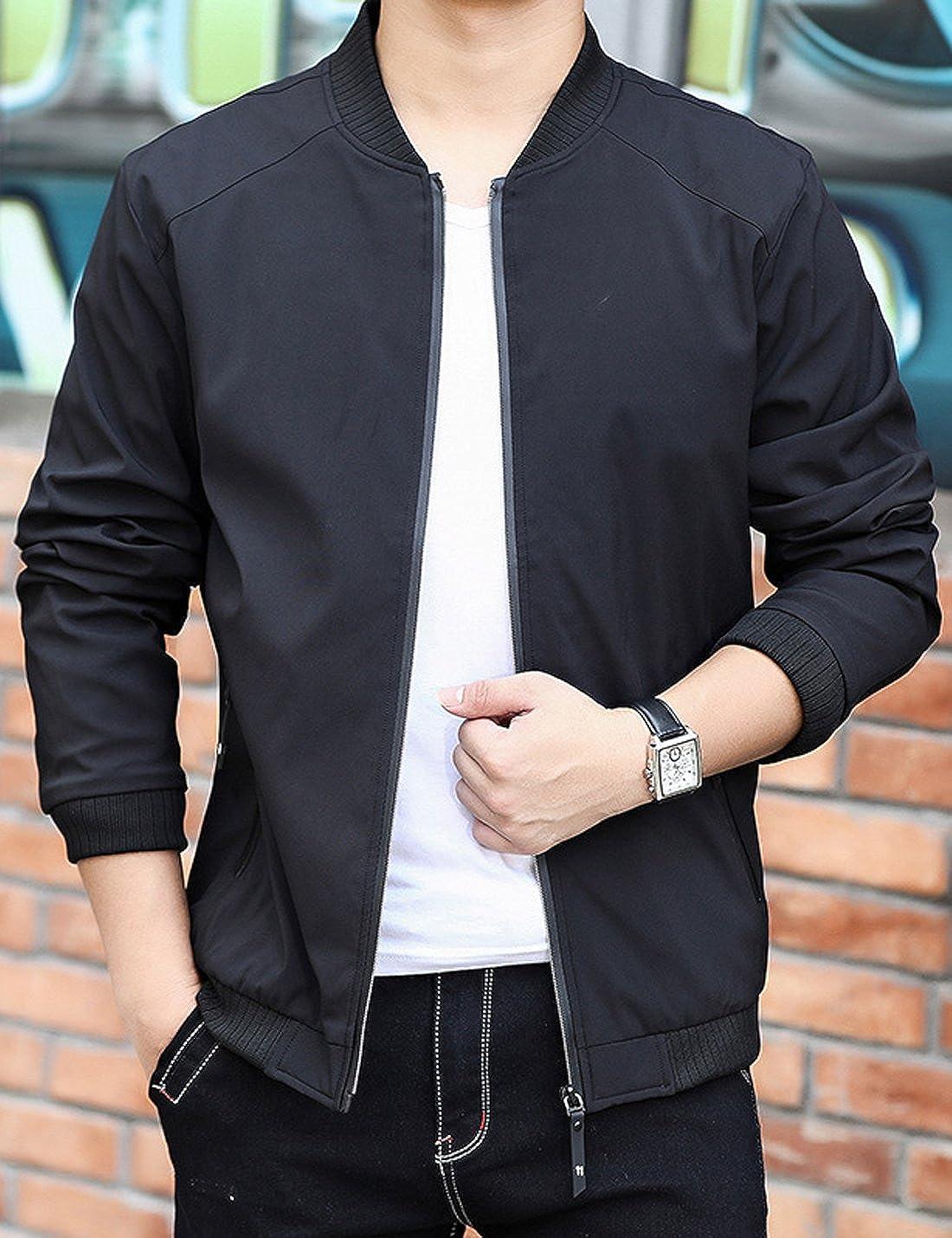Lentta Mens Casual Slim Lightweight Softshell Zipper Windbreakers Bomber Jacket
