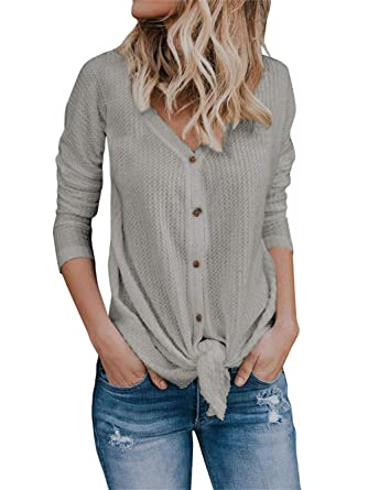 11ad4fba Coutgo Womens Button Down LightWeight Cardigan V Neck Waffle Knit Tie Front  Henley Tunic Shirts at Amazon Women's Clothing store: