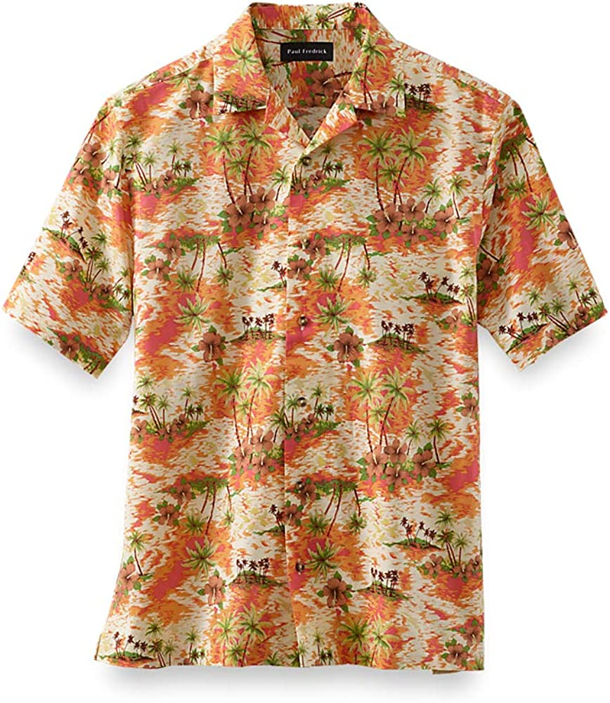 1960s – 70s Mens Shirts- Disco Shirts, Hippie Shirts Paul Fredrick Mens Classic Fit Cotton Tropical Print Casual Shirt $105.00 AT vintagedancer.com