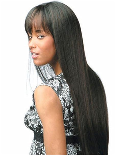 de las mujeres fibra Kanekalon extra larga peluca de Sraight Negro Ombre Bangs 0254: Amazon.es: Ropa y accesorios