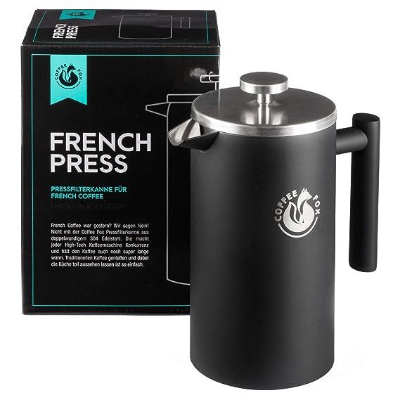 French Press Kaffeekanne aus doppelwandigem Edelstahl Weiße Pressfilterkanne Französische Kaffeepresse