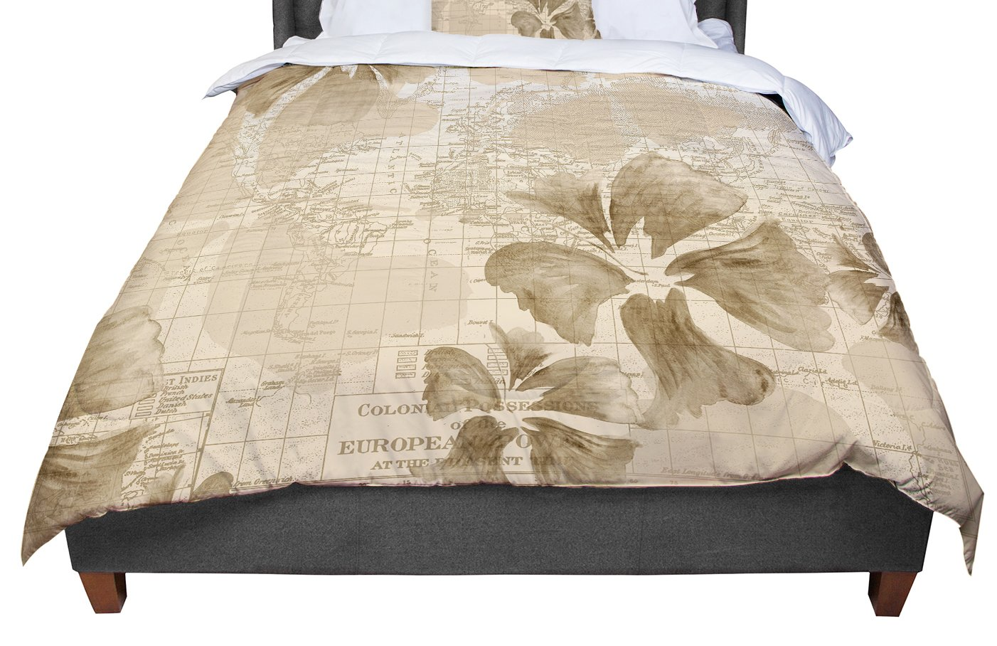 KESS InHouse Catherine Holcombe Flower Power Tan Brown Map King Cal King Comforter 104 X 88