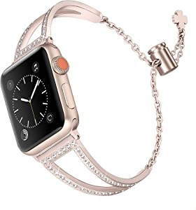 Secbolt Bling Bands Compatible with Apple Watch Band 42mm 44mm iWatch SE Series 6/5/4/3/2/1, Women Dressy Metal Jewelry Bracelet Stainless Steel, Champagne Gold