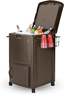 product image for Suncast Resin 77 Quart Wicker-Look Outdoor Patio Cooler with Wheels, Dark Brown