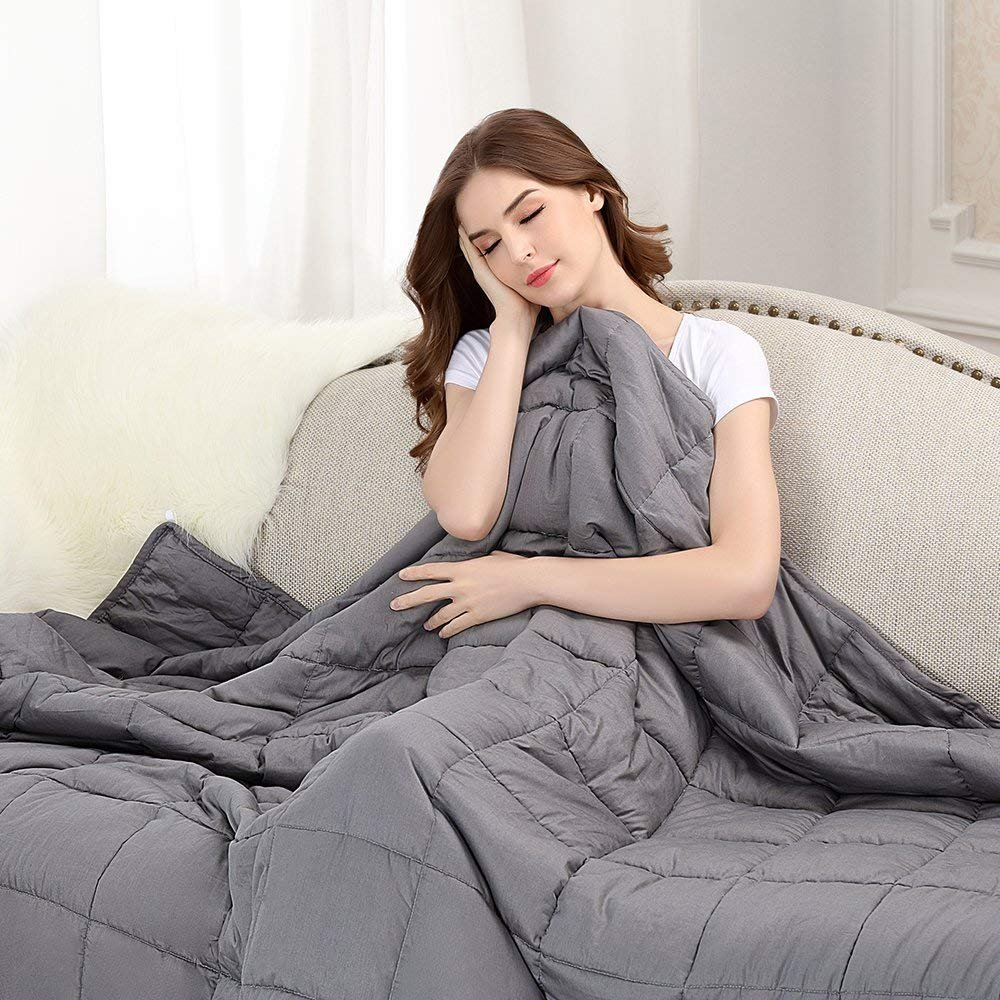 "Amazon.com: BUZIO Weighted Blanket (15 lbs for 140-180 lbs Persons) Heavy Blanket for Adults, 48"" x 72"", Grey: Home & Kitchen"