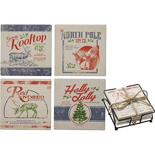 Primitives By Kathy Barware 4 inch Square Stone Coaster Feedsack Christmas Decor Set of 4